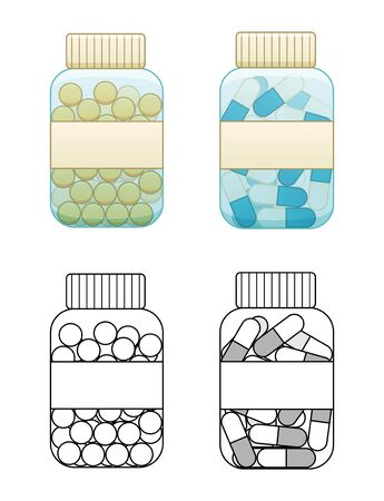 Flat and outline style bottles with capsule pills and fish oil tablets isolated illustration. White background, vector.