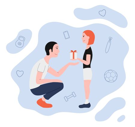 Father and daughter. Receiving a gift. Illustration for Father's day greeting card, banner, poster. White background, vector. 向量圖像