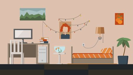 Interior design of bedroom. Computer table, bed, plant, aquarium, lamp, posters. Flat style vector illustration.