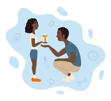 African american father and daughter. Receiving a gift. Illustration for Father's day greeting card, banner, poster. White background, vector. Ilustração