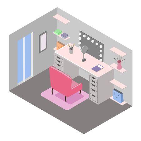 Interior design of dressing room. Table, armchair, mirror, window, shelfs. Isometric vector illustration on white background.