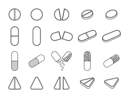 Outline style different pills set isolated illustration on white background. Round, oval, triangle, capsule tablets. White background, vector.