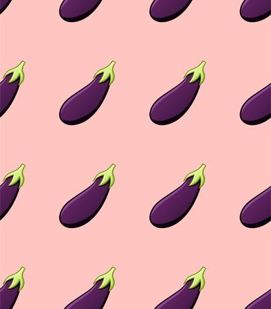 Eggplants seamless pattern. Print for textile, decor, site. Pink background, vector.