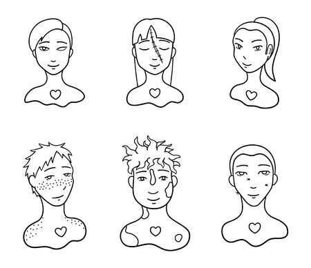 Portraits of body positive people set. Outline style isolated illustration on white background. Love yourself motivation. Faces with injuries and skin features.