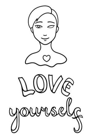 Portrait of girl without eye. Face with injury. Love yourself lettering. Body positive slogan. Outline style isolated vector illustration on white background. Ilustração