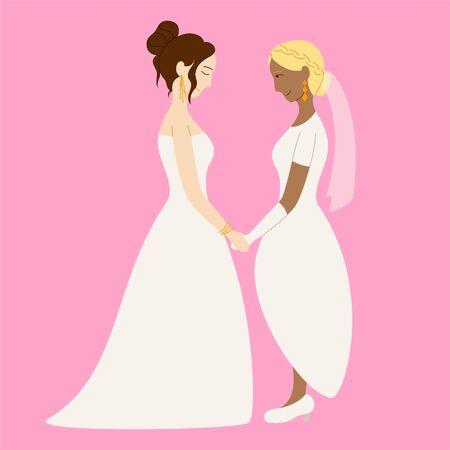 Couple of lesbian brides holding hands at the wedding. Pink background, vector.