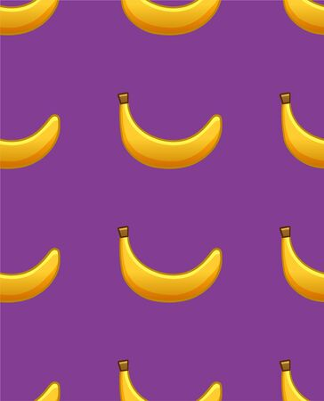 Bananas seamless pattern. Print for textile, decor, site. Purple background, vector.