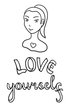 Portrait of girl without ear. Face with injury. Love yourself lettering. Body positive slogan. Outline style isolated vector illustration on white background.