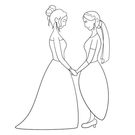 Outline style couple of lesbian brides holding hands at the wedding. White background, vector.