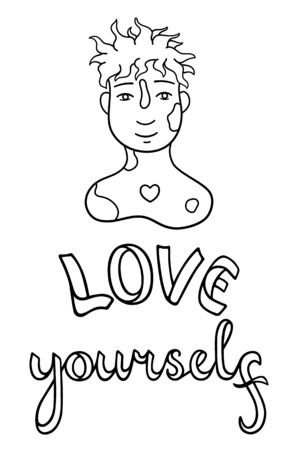Portrait of boy with vitiligo on his face and shoulders. Skin with features. Love yourself lettering. Body positive slogan. Outline style isolated vector illustration on white background.