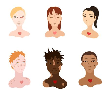 Portraits of body positive people set. Flat style isolated illustration on white background. Love yourself motivation. Faces with injuries and skin features. Ilustração