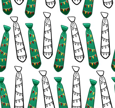 Green flat style and black outline style neckties with garlands print seamless pattern. Decoration for card, wrapper and textile. White background, vector.
