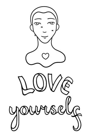 Portrait of boy with warts on his face. Skin with features. Love yourself lettering. Body positive slogan. Outline style isolated vector illustration on white background.