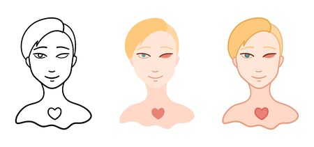 Portrait of girl without eye in different styles set. Body positive. White background, vector.  イラスト・ベクター素材