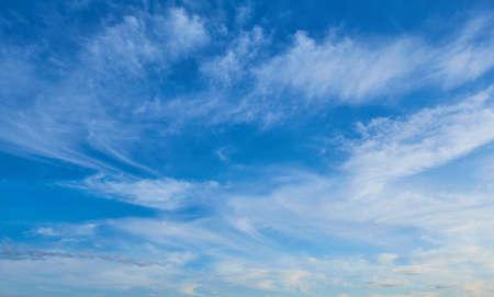 A beautiful blue sky and streaky clouds like heaven. Summer Blue Sky.