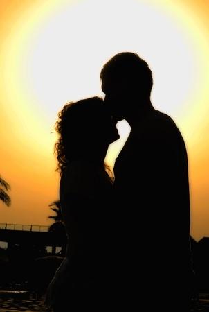 couple lit: Sunset Foto de archivo
