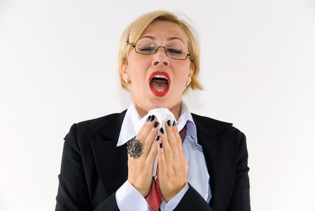 sneezing: le donne d'affari Archivio Fotografico