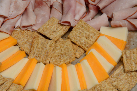 Snack party plate of cheese, cold cuts and crackers