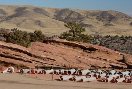 morrison: Red Rocks Park Colorado: destruction and urbanization of wilderness area but construction Stock Photo