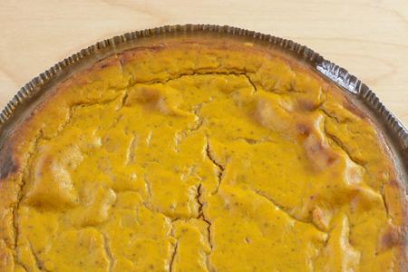 Graham: Close up of homemade pumpkin pie with graham cracker crust