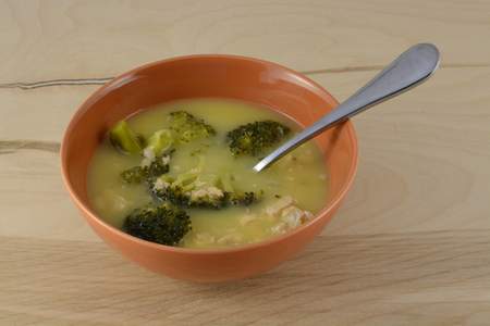 Cream soup with salmon and broccoli Stock Photo