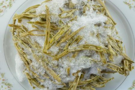 Vriezer verbrand Franse stijl gesneden groene bonen uit onjuiste opslag of verpakking