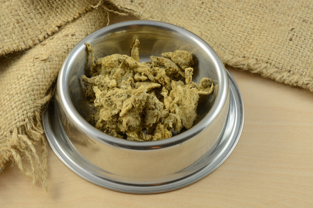 Dried crushed beef tripe dog or cat food or special treat in stainless steel pet bowl 版權商用圖片
