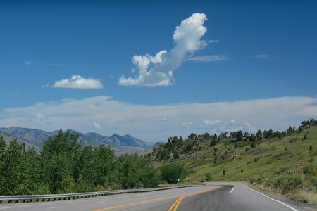 morrison: Landscape view on Hog Back Road (Highway 93) from Red Rocks Park in Morrrison to Golden Colorado