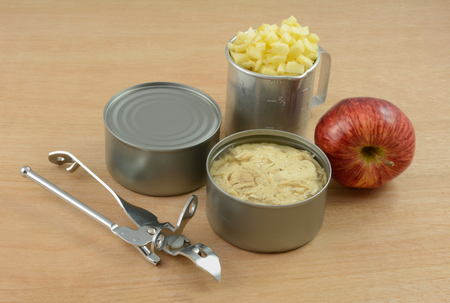 Cans of albacore tuna fish, retro can opener, red delicious apple and chopped apple in retro vintage can opener for making simple tuna fish salad