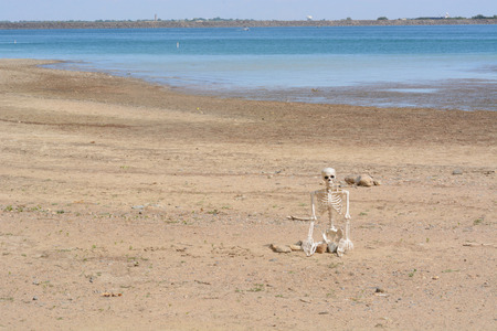 Halloween Skeleton sitting on dry lake bed from low water level at Lake Standley reservoir in Westminster Colorado during increasing drought conditions Reklamní fotografie