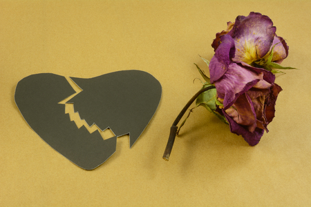 Dried red purple roses and divided black broken paper heart supplies for Anti-Valentines Day or other crafting project