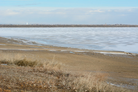 Winter landscape of Standley Lake in Westminster Colorado with frozen lake and snow Reklamní fotografie