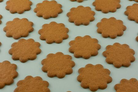Swedish thin ginger cookies in rows on green background