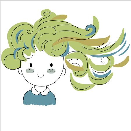cartoon positive sweet cute colored doodle girl