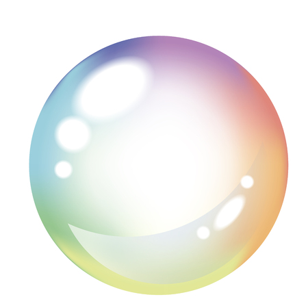 Soap colored bubble on white background with flickers