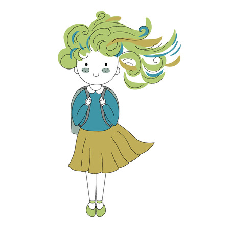 handdrawn vector illustration character. happy girls set in Doodle cartoon style.  イラスト・ベクター素材