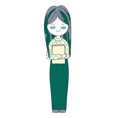handdrawn vector illustration character. happy girls set in Doodle cartoon style. 矢量图像