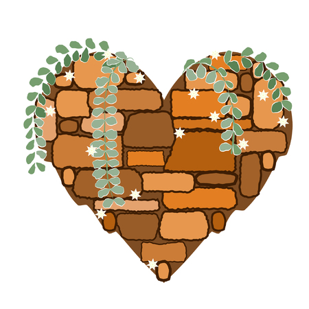 Stone heart shape with leaves