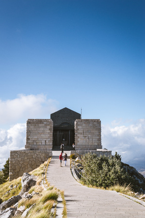 Lovcen / Montenegro - September 2017: road to the Mausoleum of the Negot - the tomb of the last spiritual ruler of Montenegro, Metropolitan Peter II Petrovich-Negosh, located on the top of the mountain