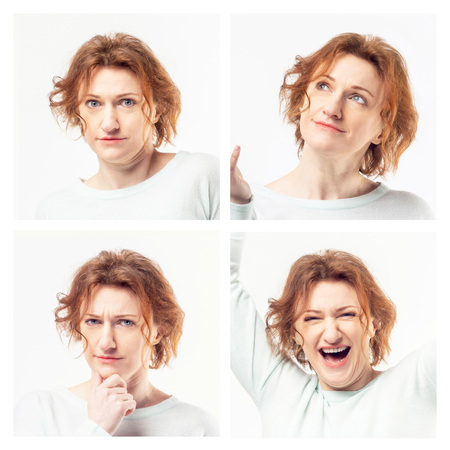 Young casual redhead woman expressing different emotions in collage on white background