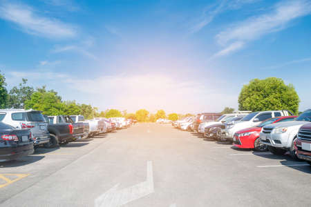 Car parking in large asphalt parking lot with trees, white cloud and blue sky background. Outdoor parking lot with fresh ozone and green environment of transportation concept