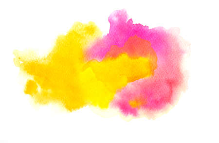 Colorful watercolor texture background. Pink yellow color paint stain splash water on white paper, hand drawn, abstract illustration graphic art design Archivio Fotografico