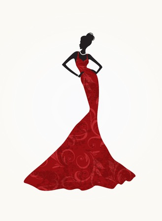 Beautiful fashion woman wearing a long red dress Vector