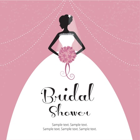 Beautiful bride holding a flower bouquet  Bridal shower invitation  Vector