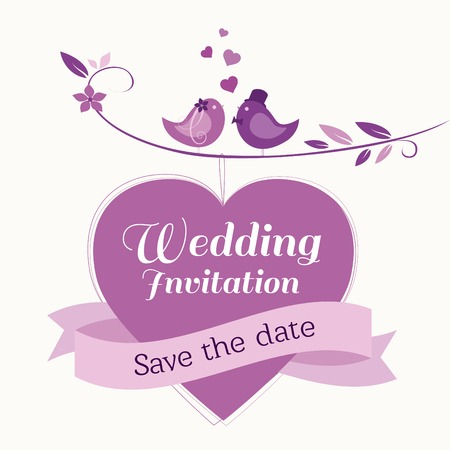 Cute wedding invitation template with bride and groom birds Vector