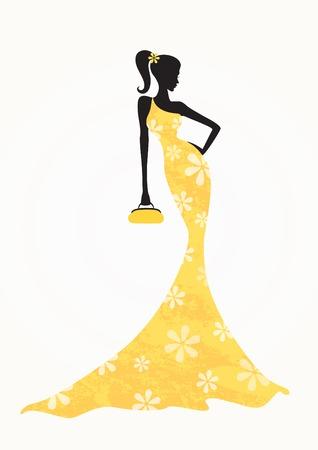 Beautiful fashion woman wearing a long yellow dress Vector