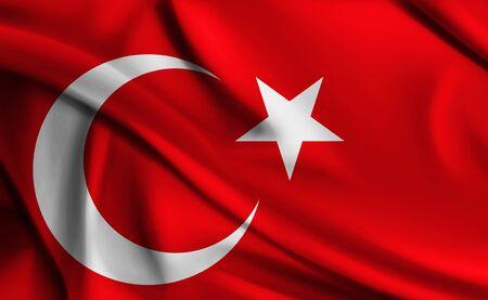 Waving Turkish Flag - Flag of Turkey