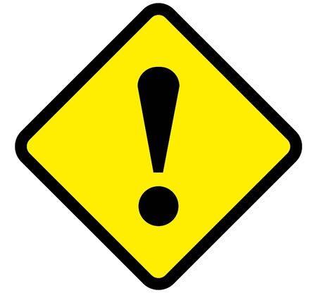 warning danger sign, rectangle and triangle frame yellow and black color background Illustration