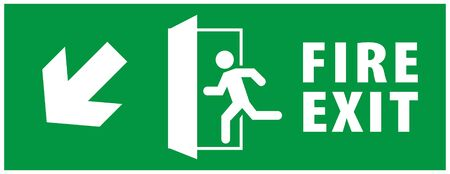 emergency fire exit sign. running man icon to door. green color. arrow vector. warning sign plate