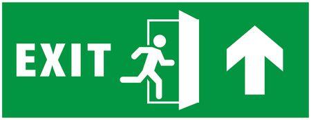 segnale di uscita di emergenza. icona dell'uomo che corre alla porta. colore verde. vettore di freccia. targa segnaletica di avvertimento